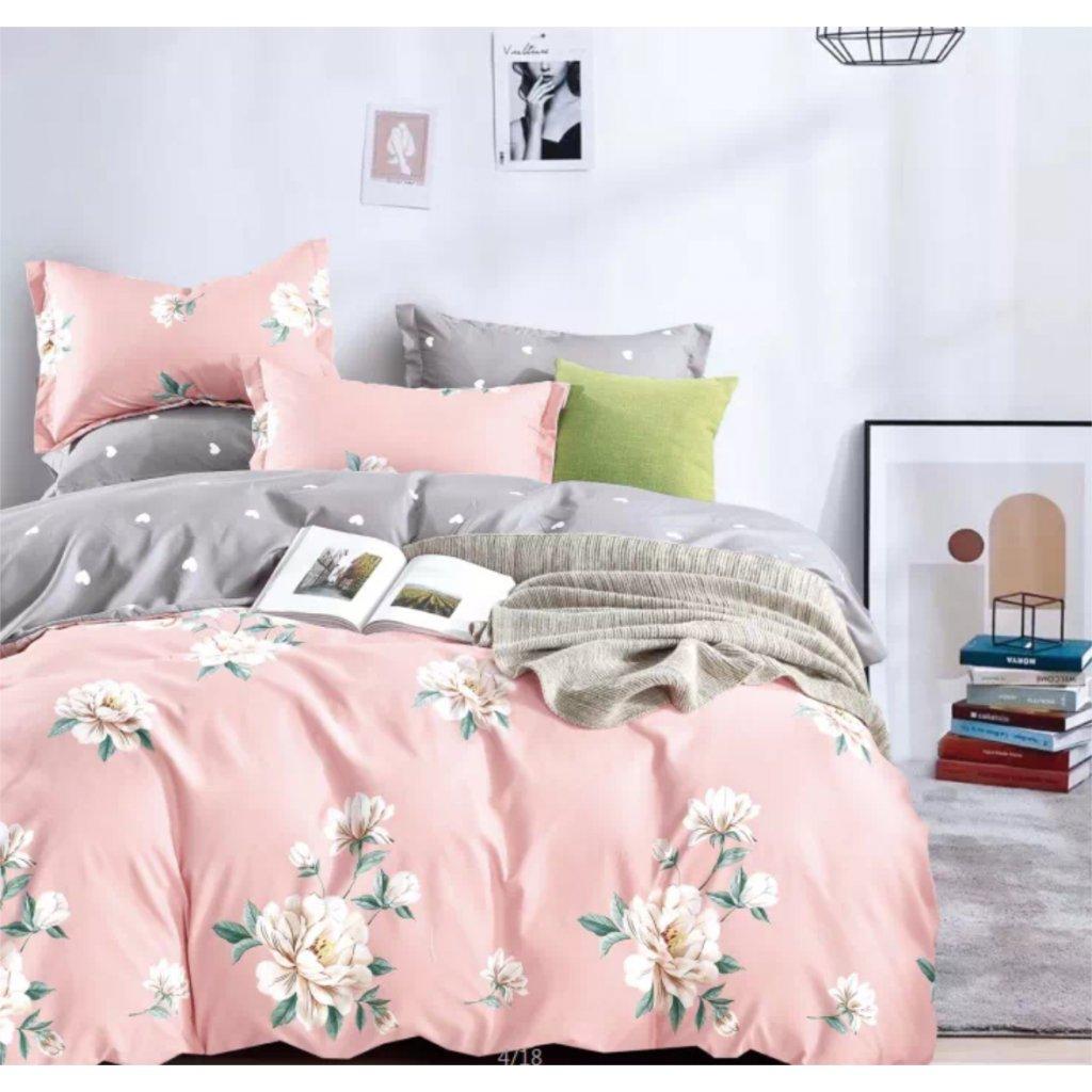 7-dílné povlečení jarní květy bavlna/mikrovlákno růžová 140 x 200 na dvě postele