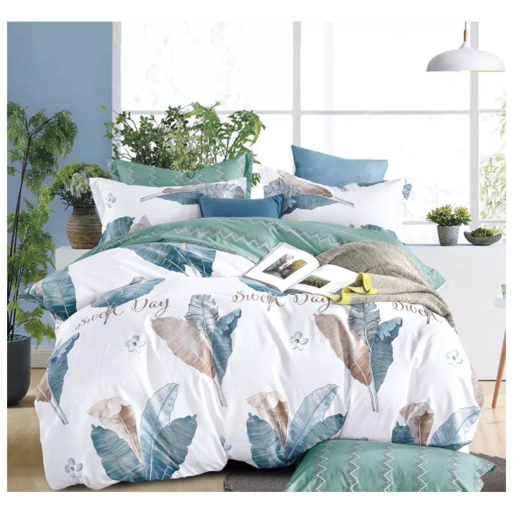 7-dílné povlečení listy bavlna/mikrovlákno bílá zelená 140 x 200 na dvě postele