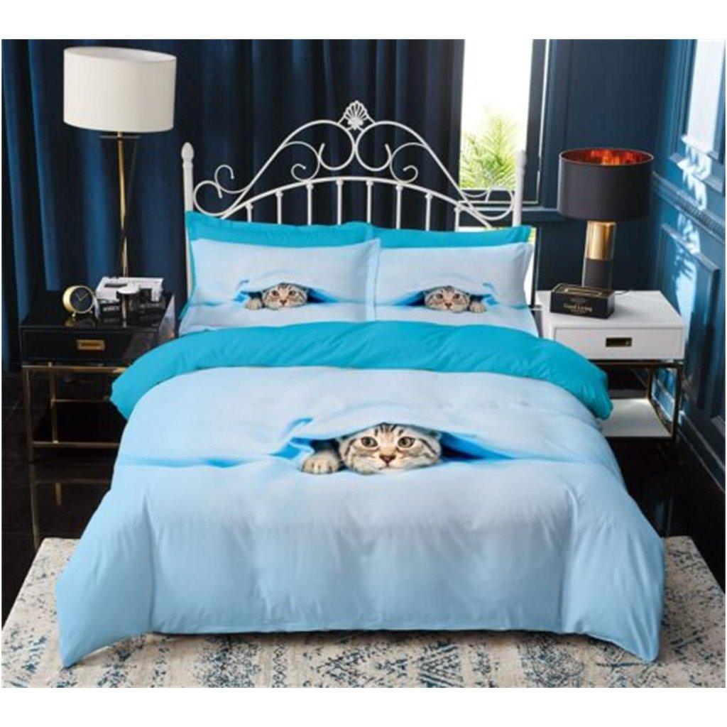 3-dílné povlečení kočka kuk 3 D modrá 140 x 200 na jednu postel