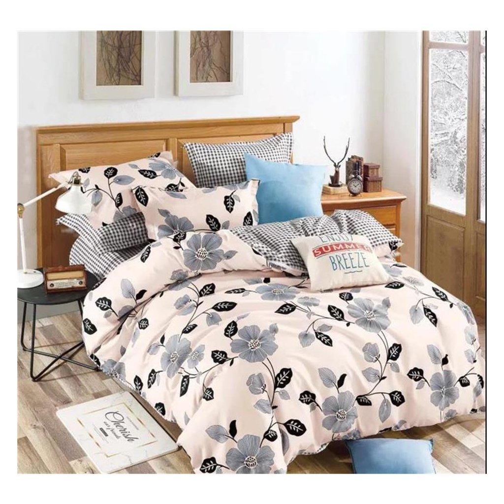 Třídílné povlečení květy bavlna/mikrovlákno bílá šedá 140x200 na jednu postel