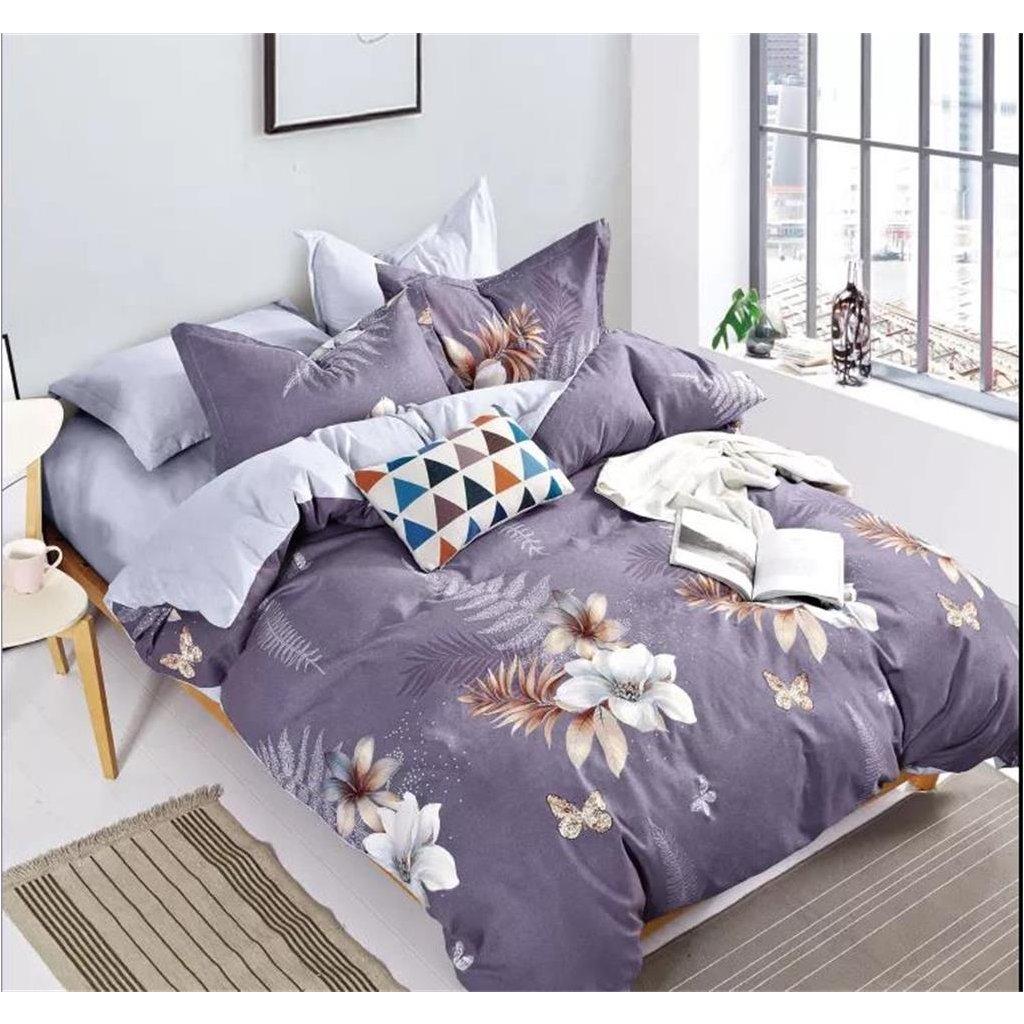 Třídílné povlečení květy bavlna/mikrovlákno šedofialová bílá 140x200 na jednu postel