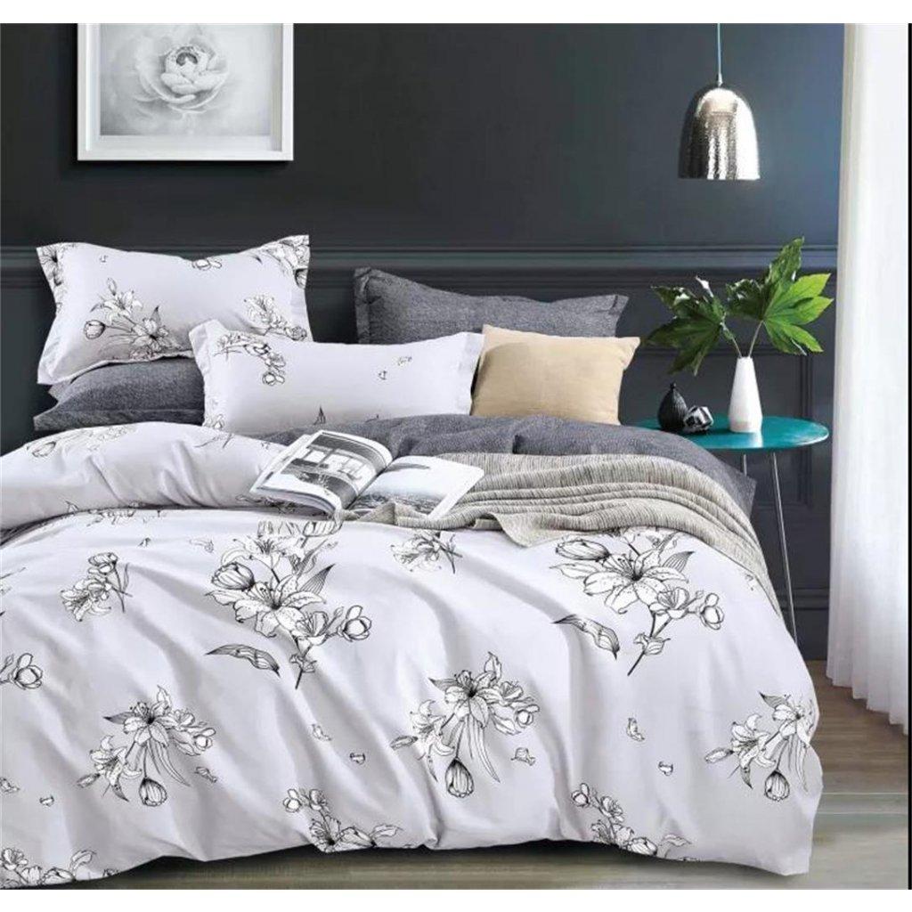 Třídílné povlečení lilie bavlna/mikrovlákno šedá bílá 140x200 na jednu postel