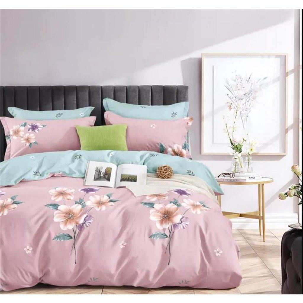 Třídílné povlečení květy bavlna/mikrovlákno starorůžová 140x200 na jednu postel