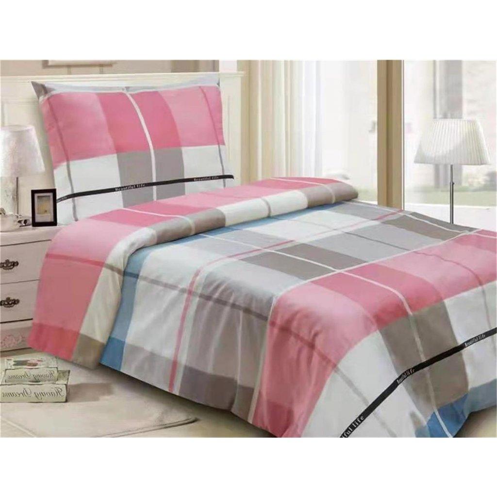 2-dílné povlečení beautiful life bavlna/mikrovlákno modrá bílá růžová 140x200 na jednu postel