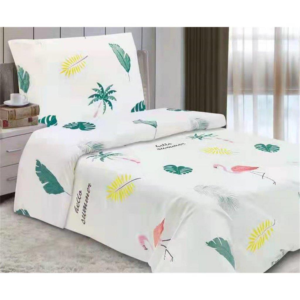 2-dílné povlečení hello summer bavlna/mikrovlákno bílá 140x200 na jednu postel