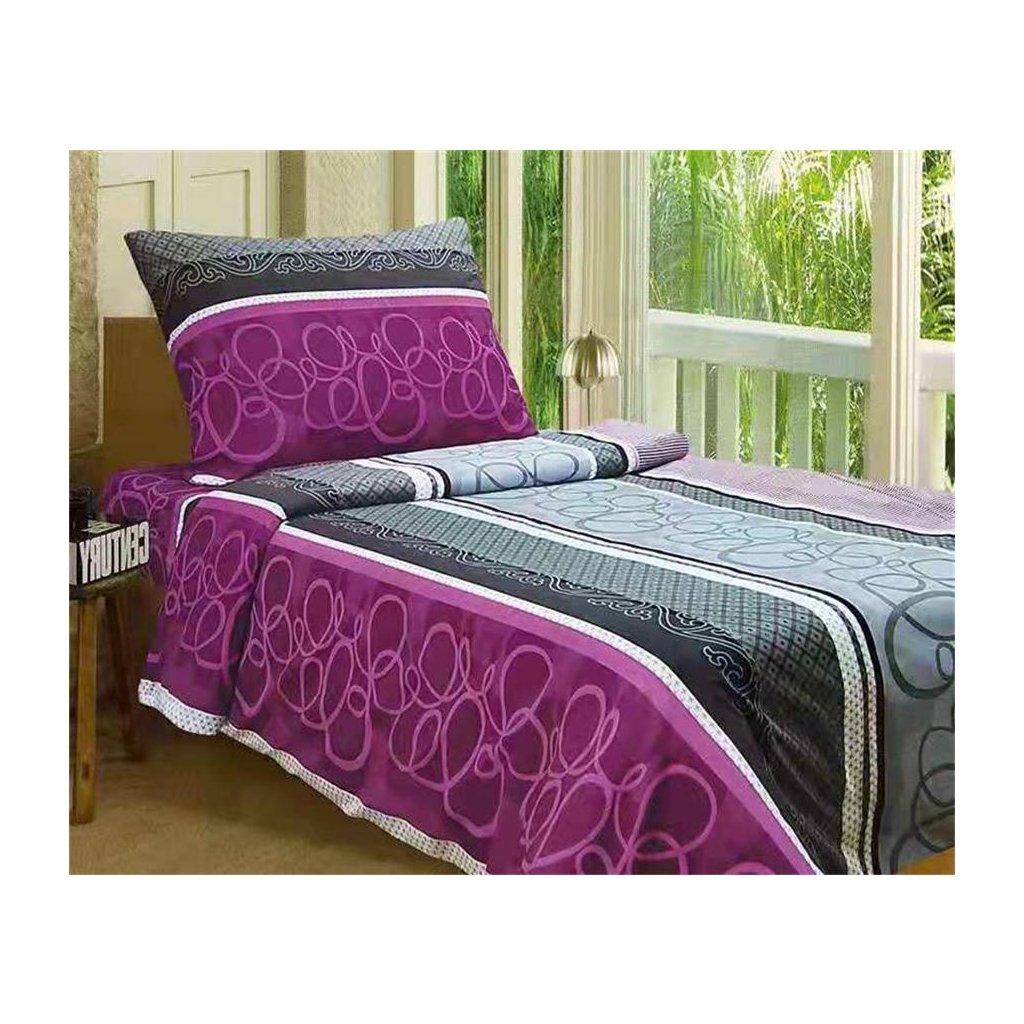 2-dílné povlečení ornamenty bavlna/mikrovlákno fialová šedá 140x200 na jednu postel