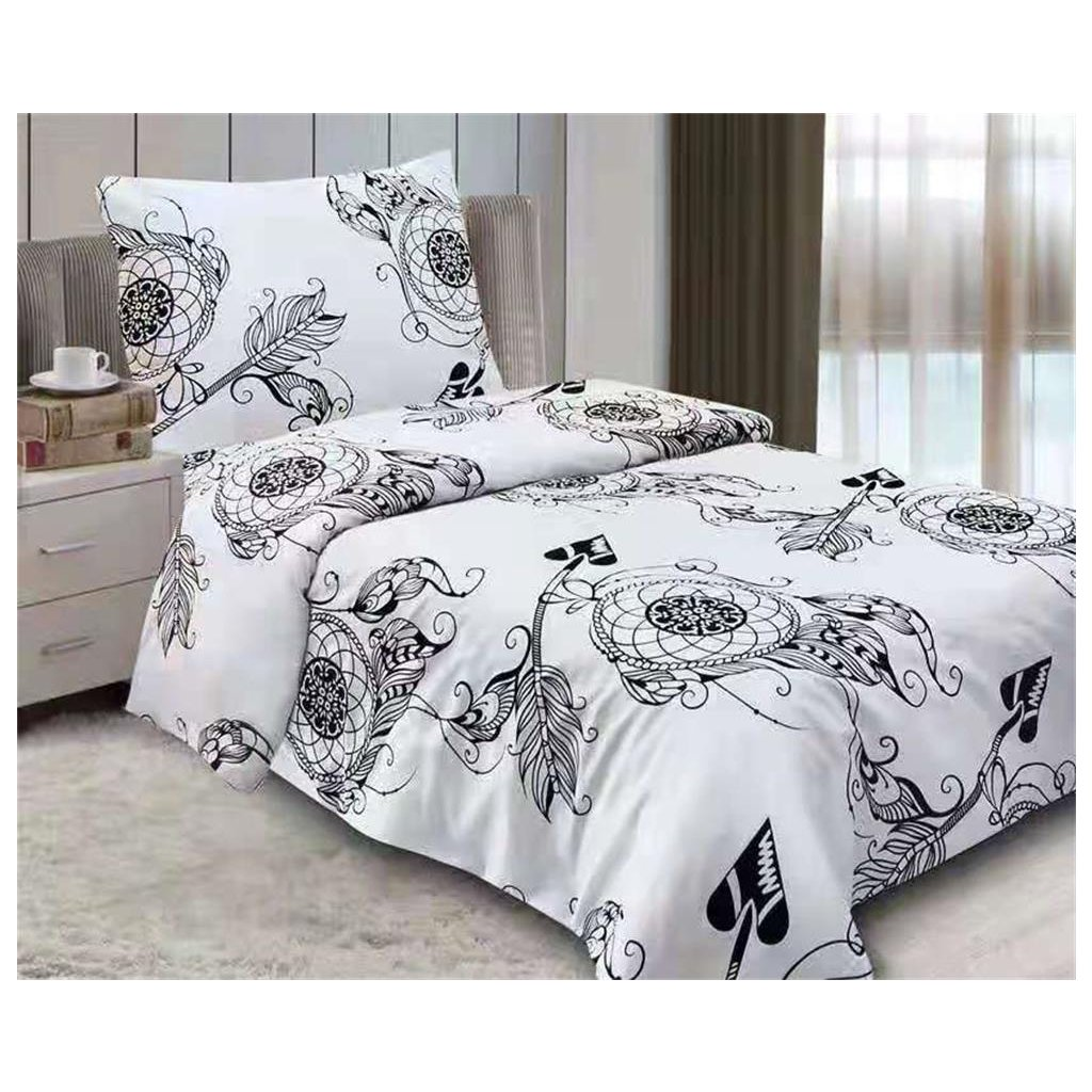 2-dílné povlečení ornamenty bavlna/mikrovlákno bílá černá 140x200 na jednu postel