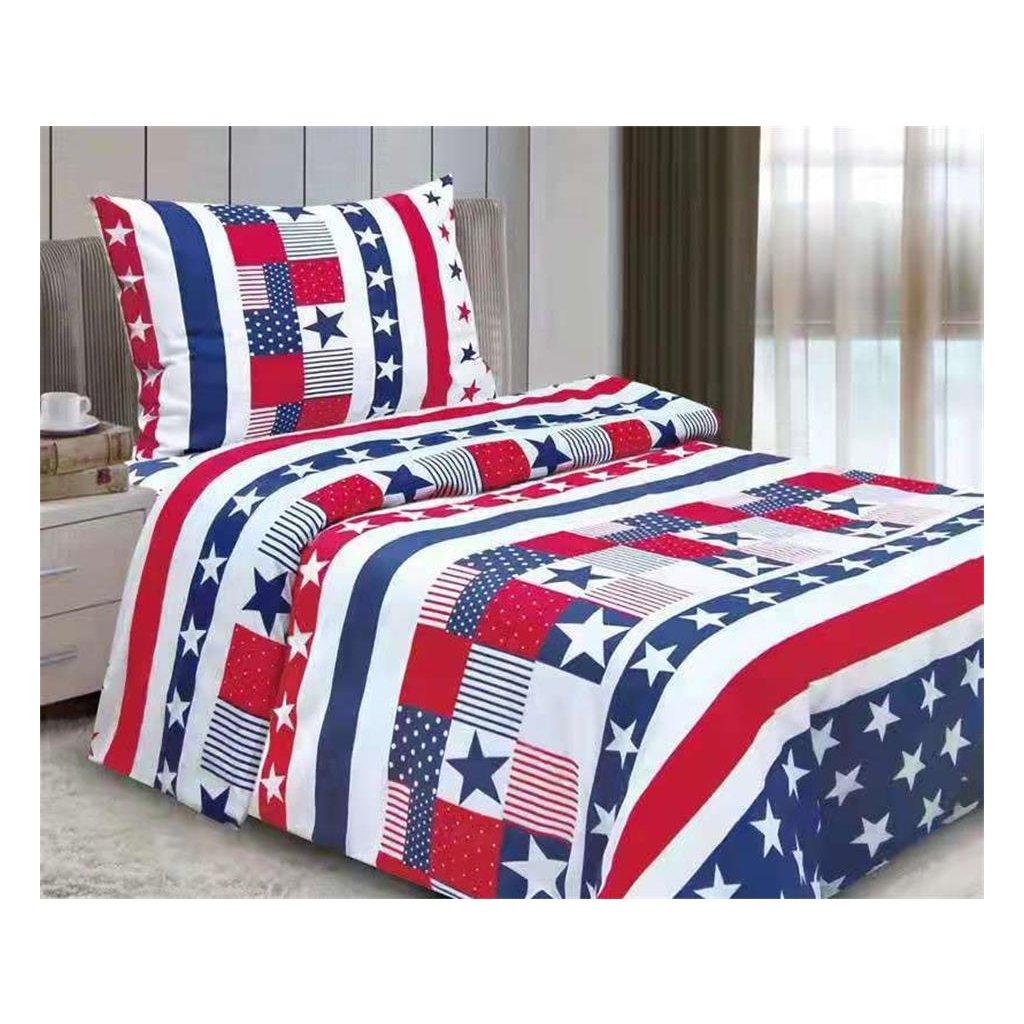 2-dílné povlečení hvězdy a pruhy bavlna/mikrovlákno modrá bílá červená 140x200 na jednu postel