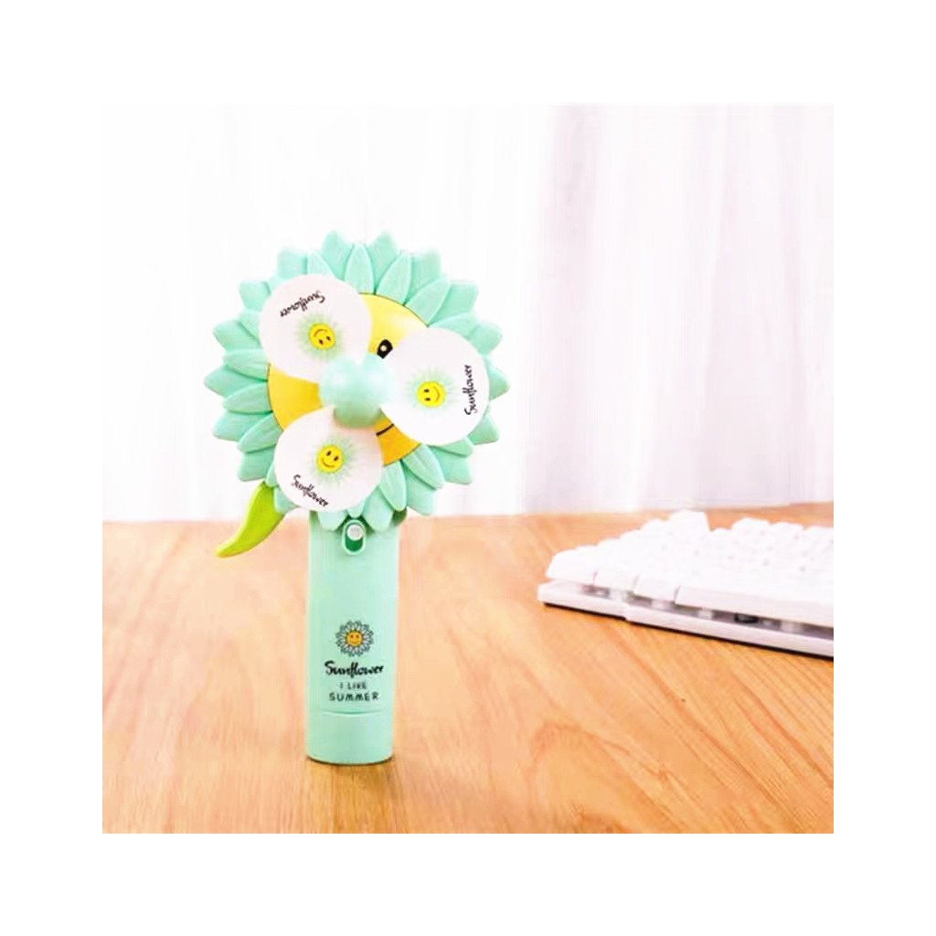 Dětský větráček na ruční pohon - květina zelený