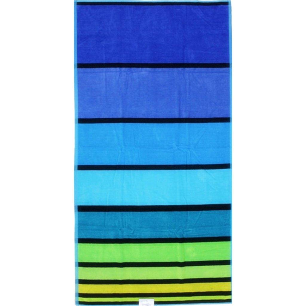 Oboustranná osuška pruhy modrá zelená 90 x 170 cm