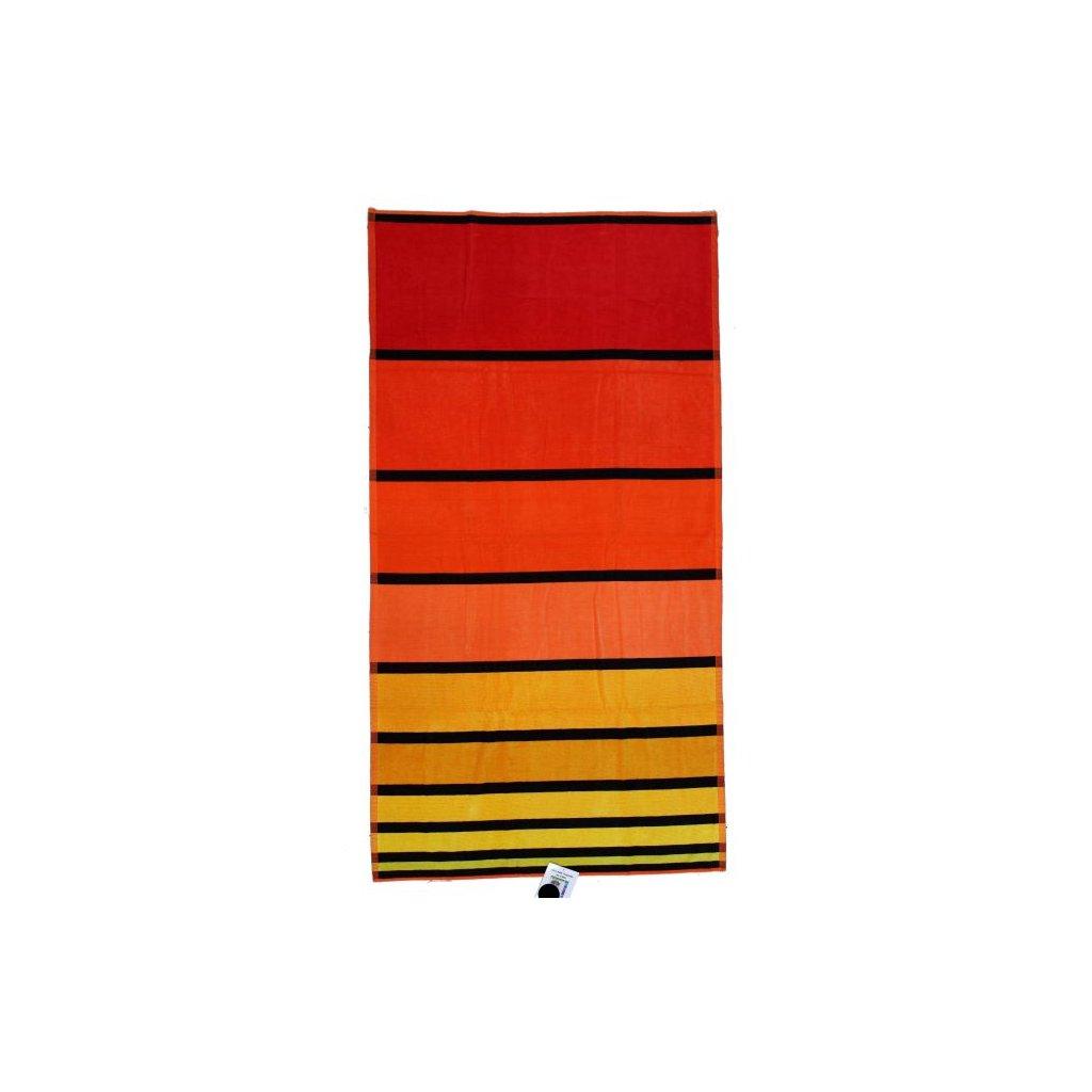 Oboustranná osuška pruhy červená 90 x 170 cm