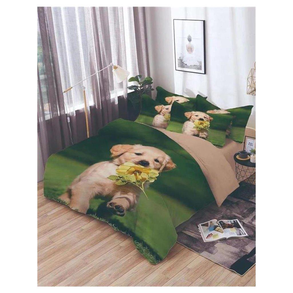 7-dílné povlečení pes růže 3 D zelená 140x200 na dvě postele