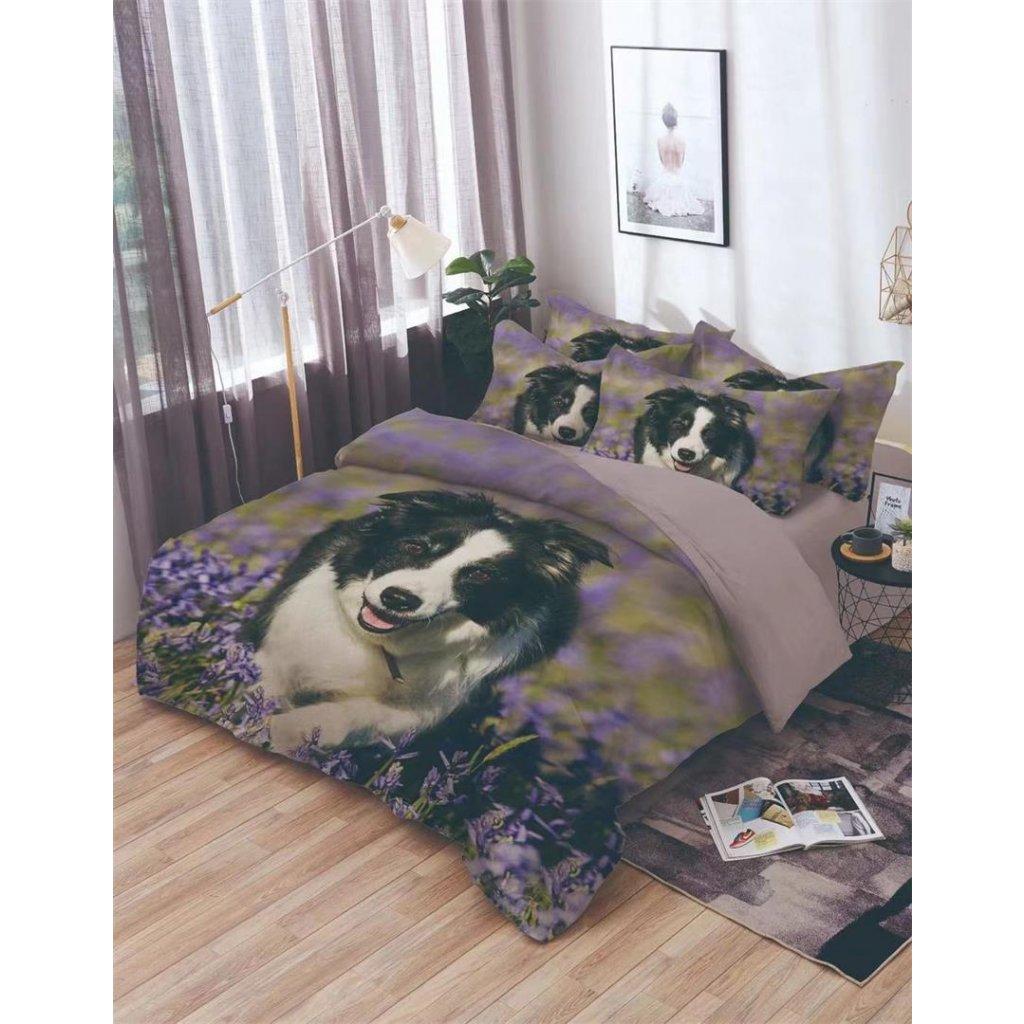 7-dílné povlečení pes květy 3 D fialová 140x200 na dvě postele