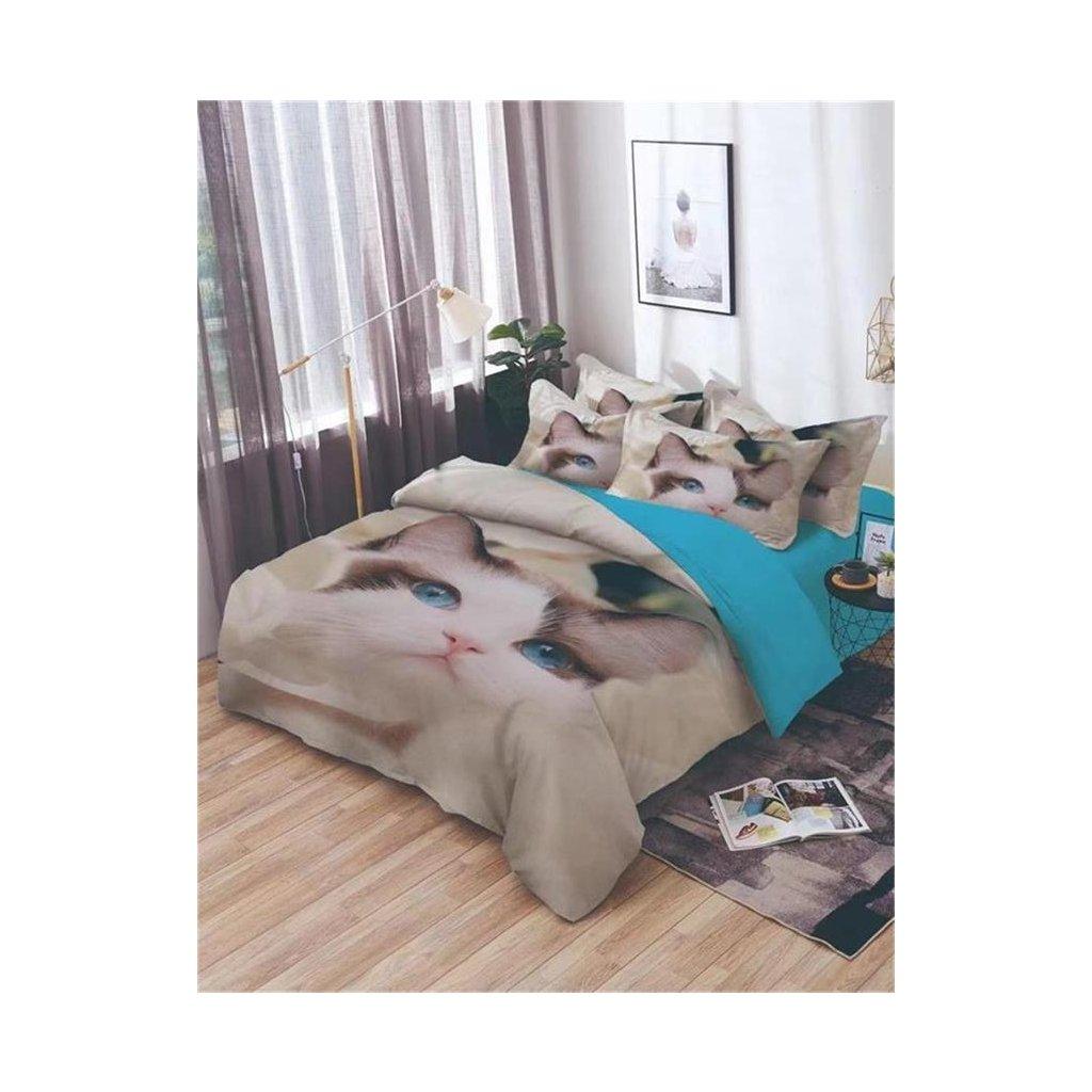 7-dílné povlečení kočka 3 D bílá 140x200 na dvě postele