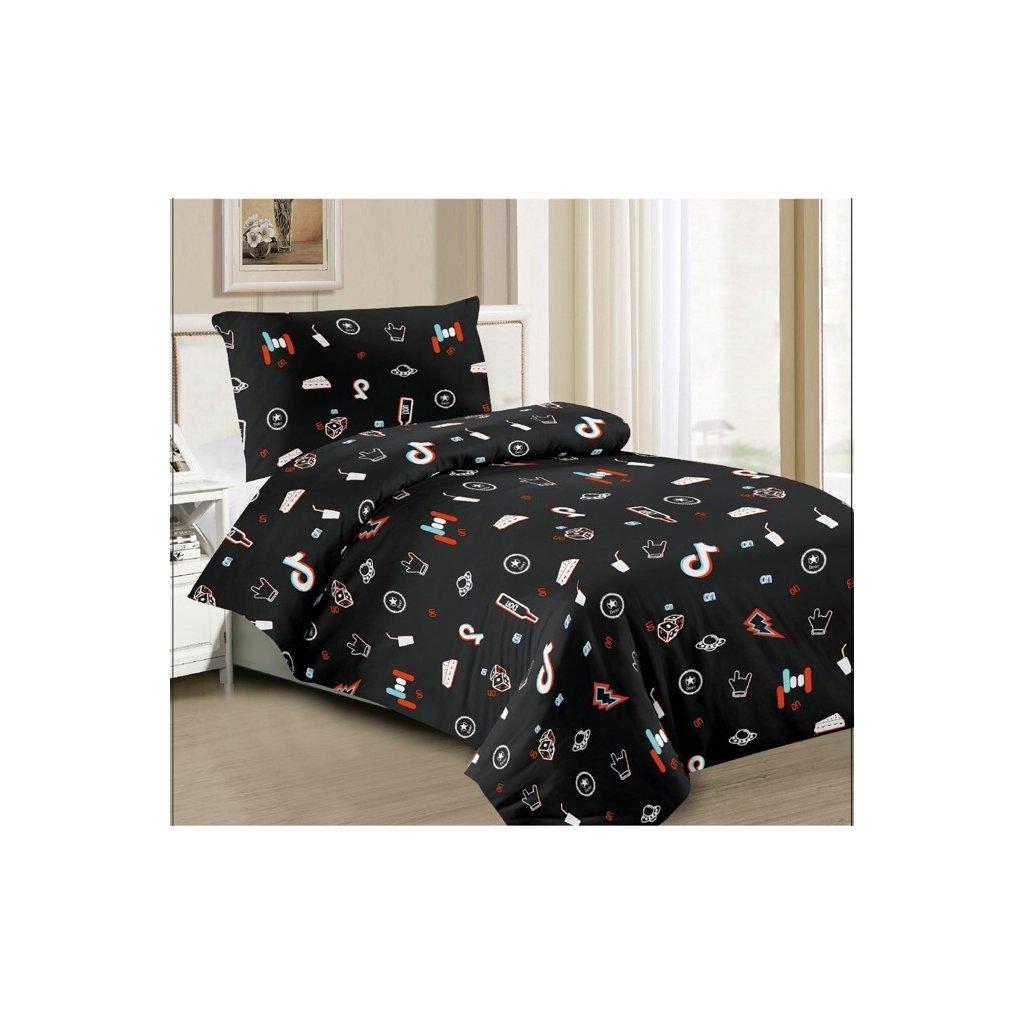 2-dílné povlečení Tik Tok černá 140x200 na jednu postel