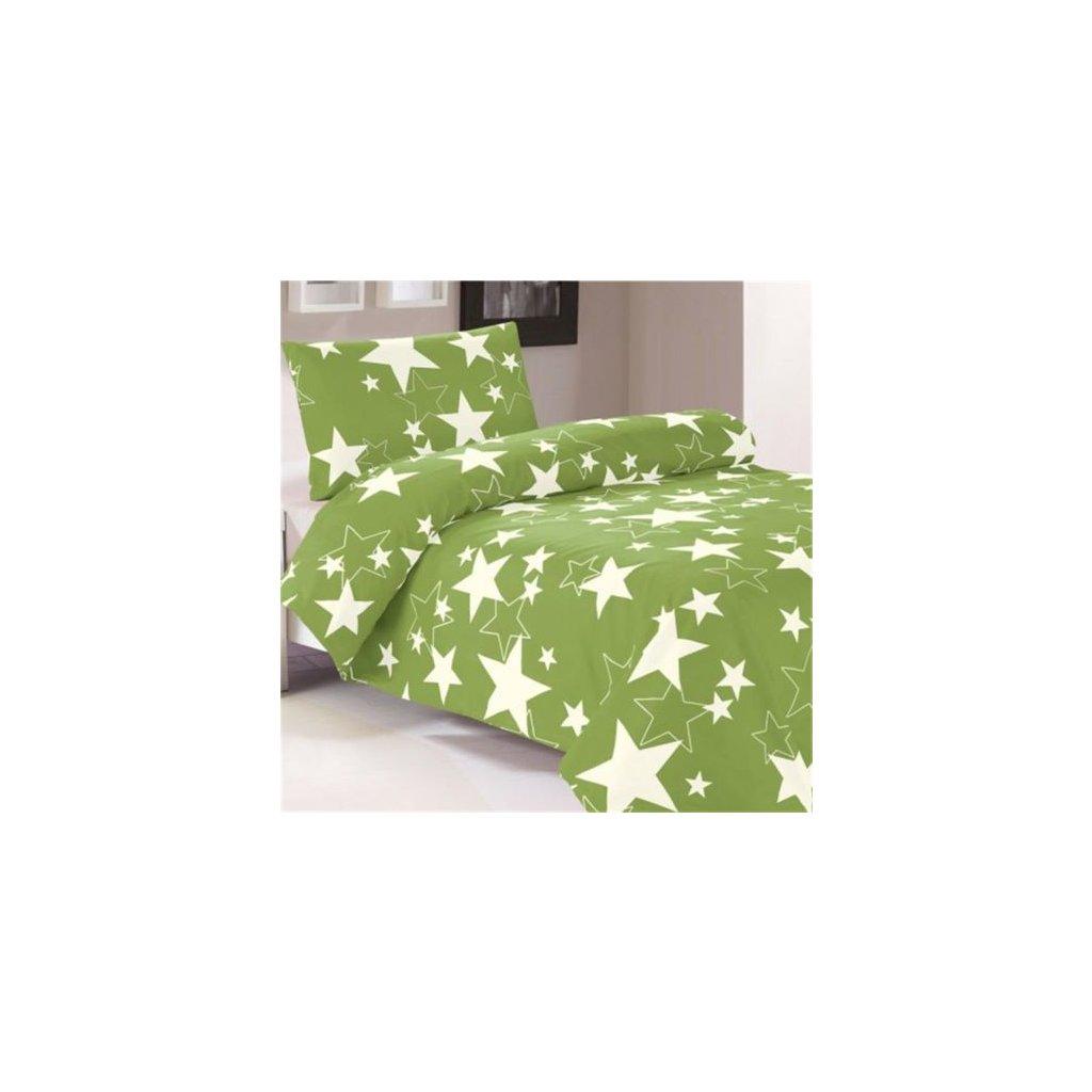 2-dílné povlečení hvězdy zelená bílá 140x220 na jednu postel