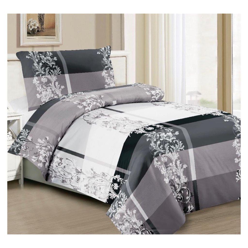2-dílné povlečení ornamenty šedá bílá 140x200 na jednu postel