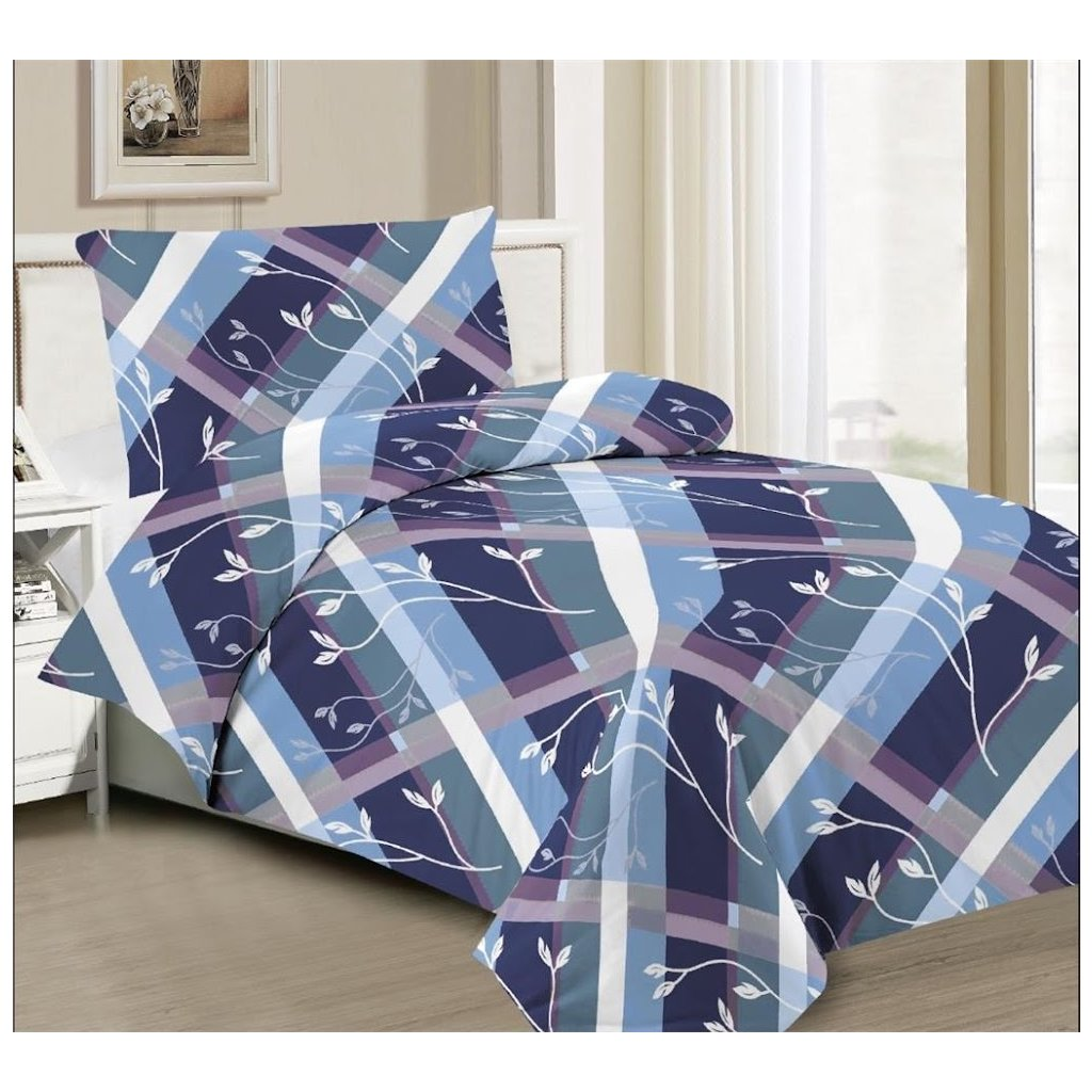 2-dílné povlečení stonky modrá 140x200 na jednu postel