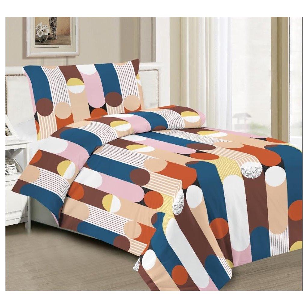 2-dílné povlečení pestrobarevné pruhy 140x200 na jednu postel