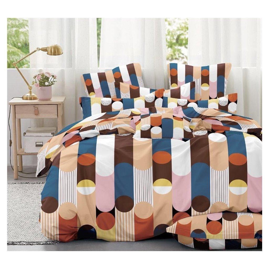 7-dílné povlečení pestrobarevné pruhy 140x200 na dvě postele