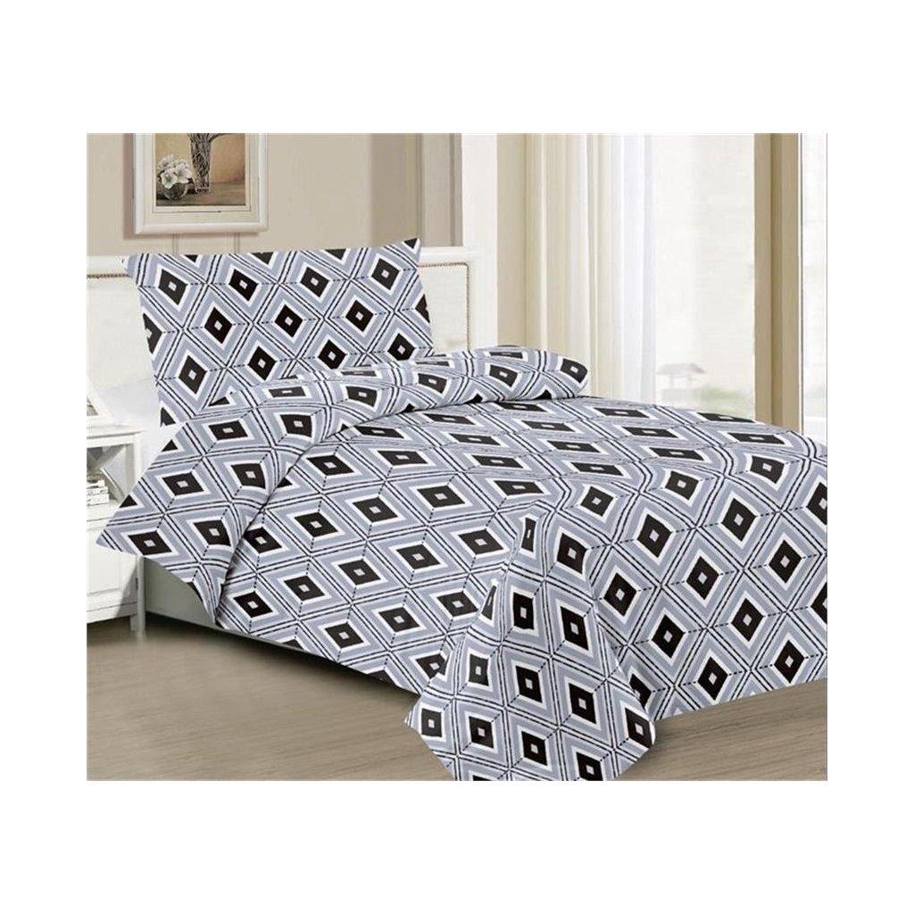 2-dílné povlečení kosočtverce šedá 140x200 na jednu postel