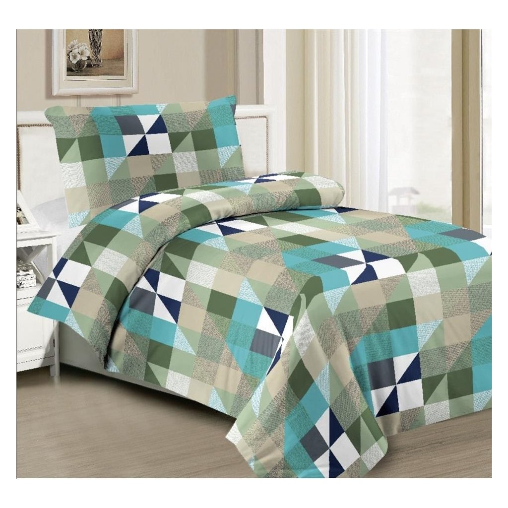 2-dílné povlečení geom. vzor zelená šedá 140x200 na jednu postel