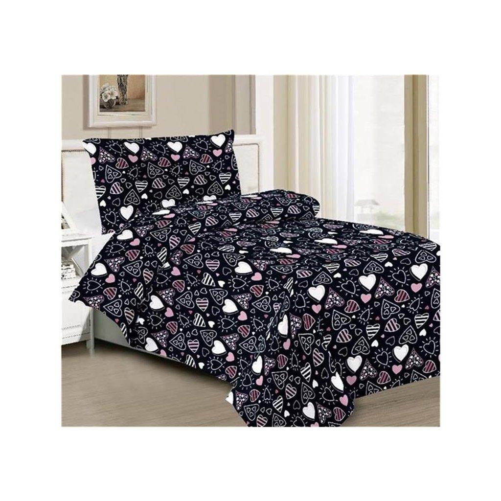 2-dílné povlečení srdíčka černá 140x200 na jednu postel