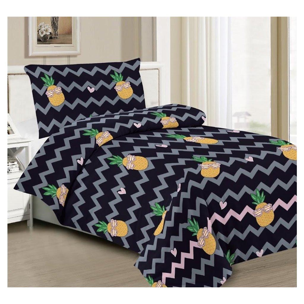 2-dílné povlečení ananas černá šedá 140x200 na jednu postel