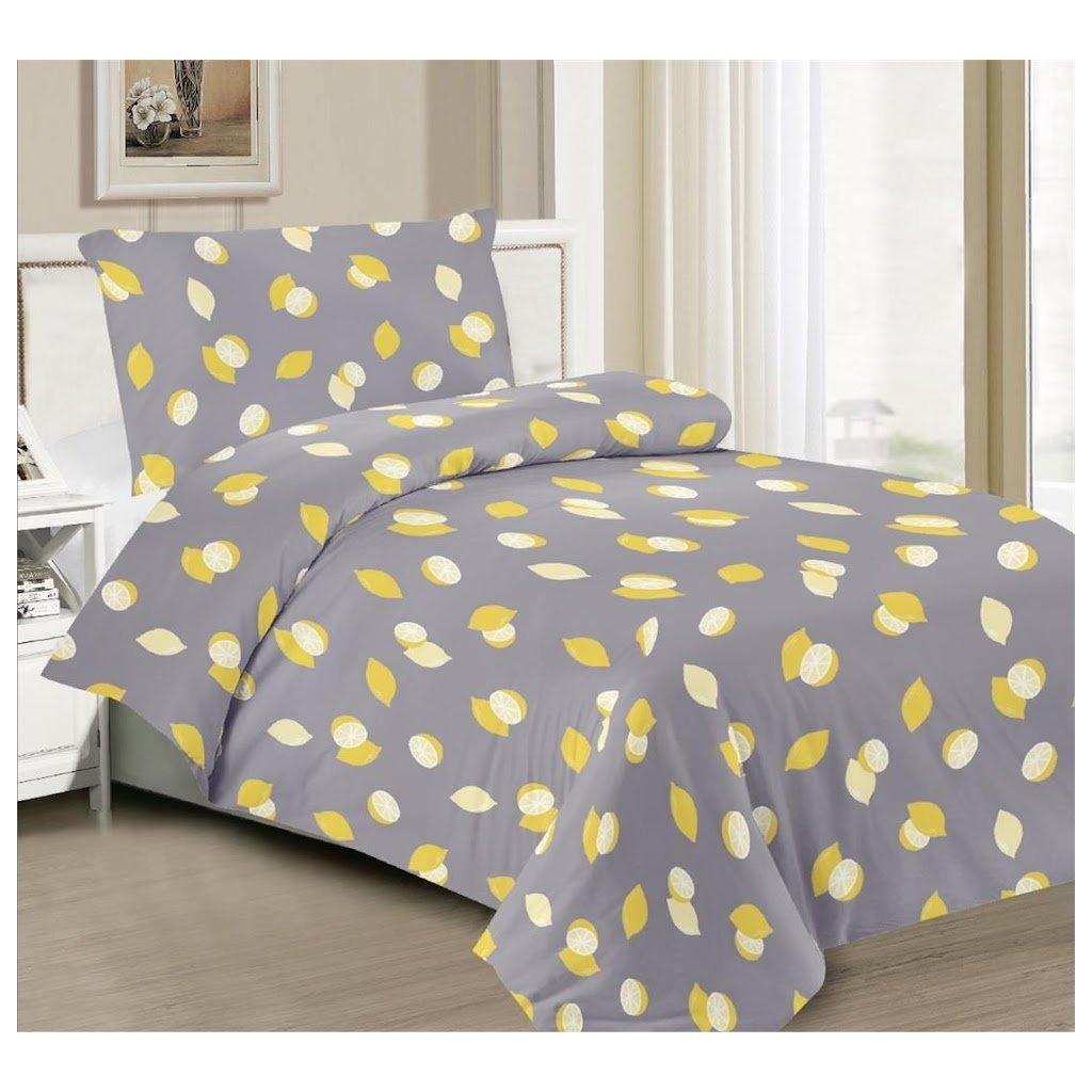 2-dílné povlečení citron šedá 140x200 na jednu postel