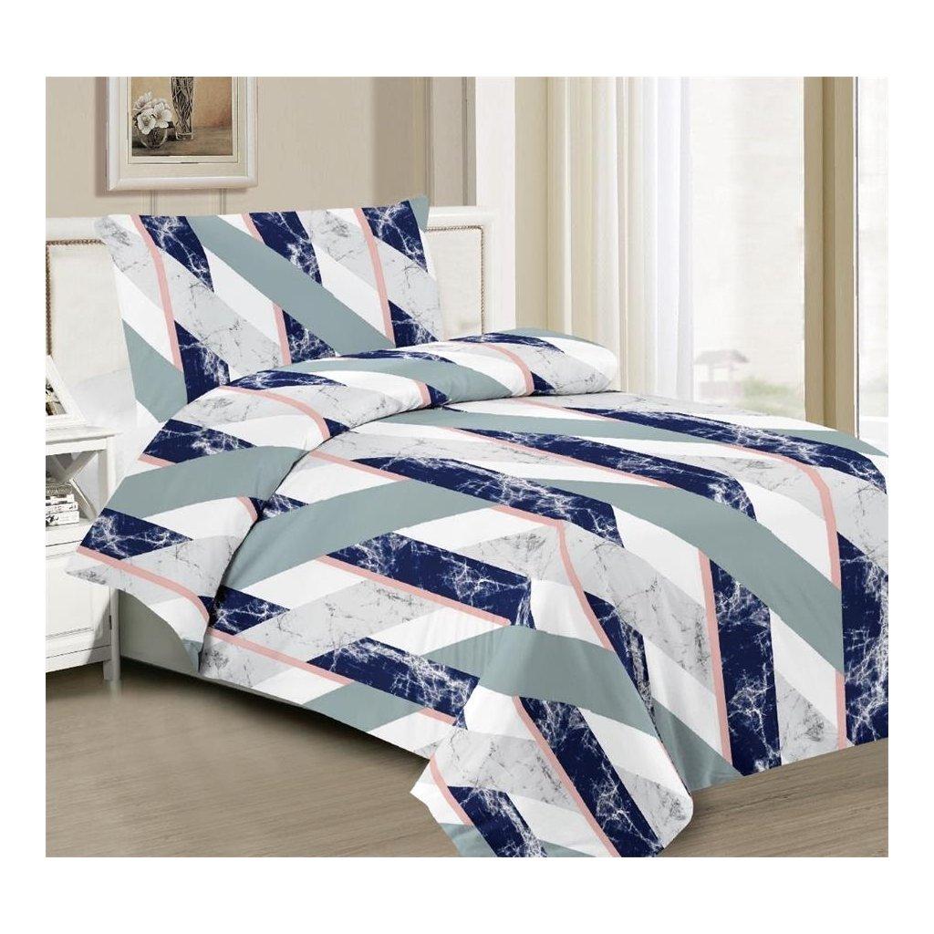 2-dílné povlečení abstrakce pruhy šedá zelená bílá 140x200 na jednu postel