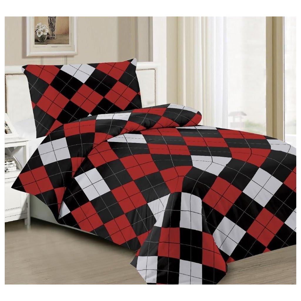 2-dílné povlečení čtverce černá červená šedá 140x200 na jednu postel