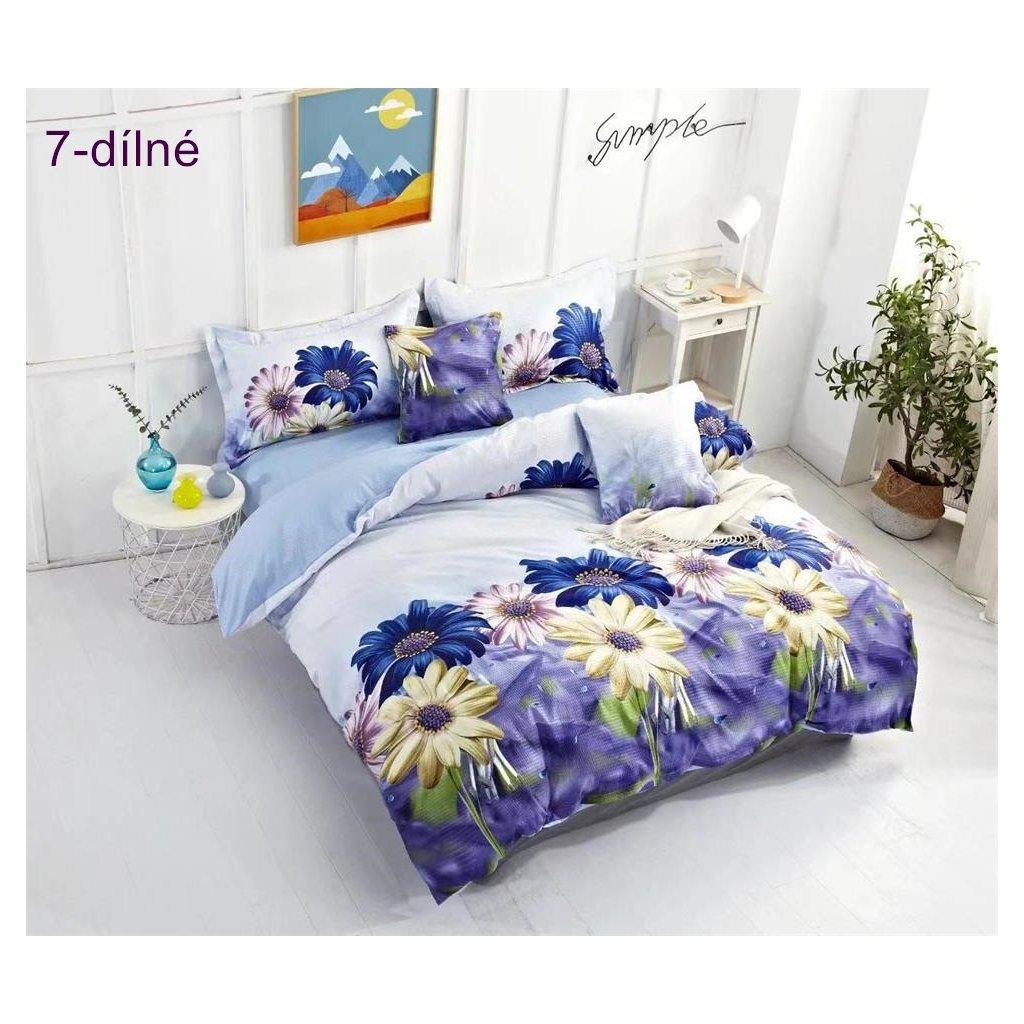 7-dílné krepové povlečení květy modrá světlá 140x200 na dvě postele