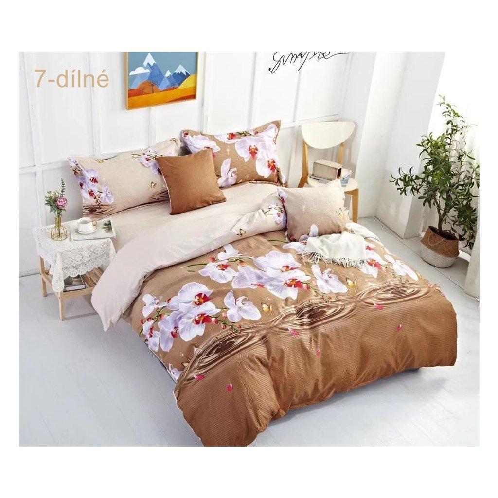7-dílné krepové povlečení orchidej hnědá 140x200 na dvě postele