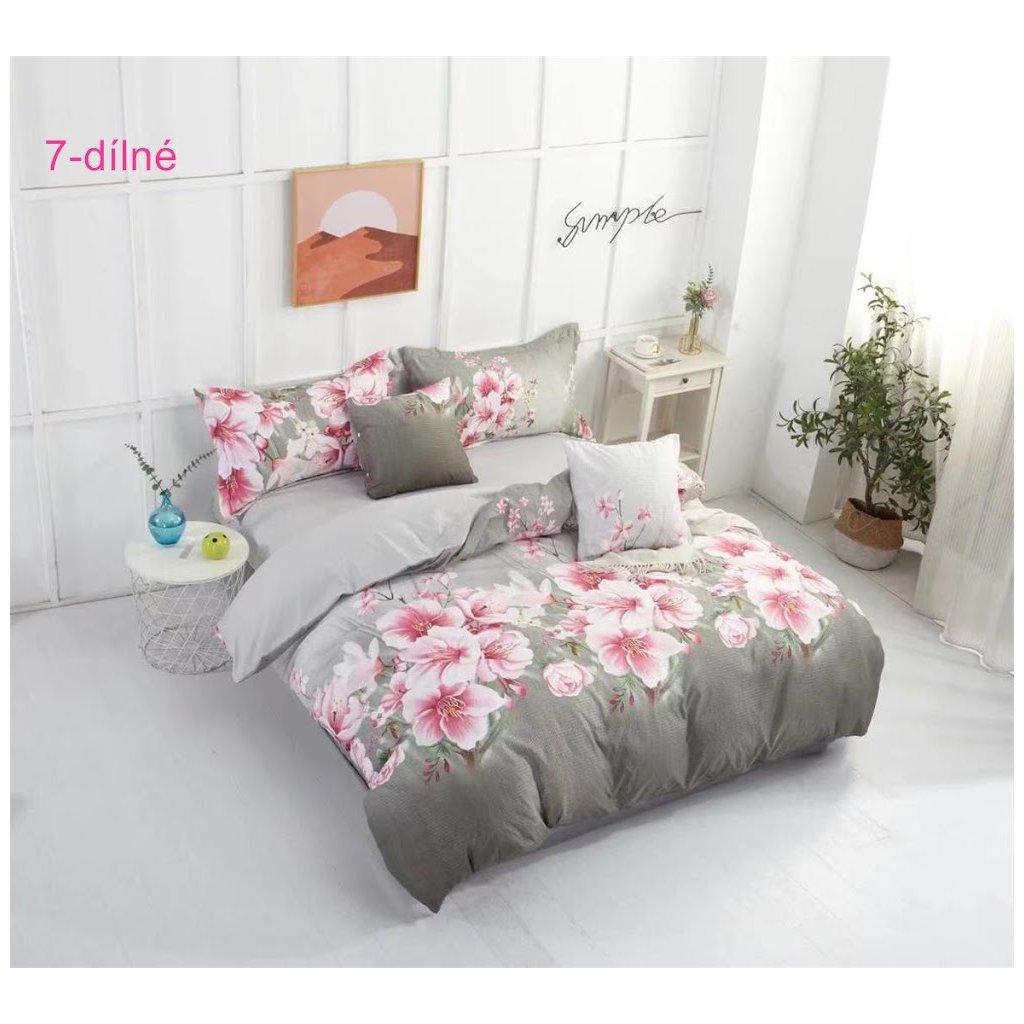 7-dílné krepové povlečení růžové květy šedá 140x200 na dvě postele