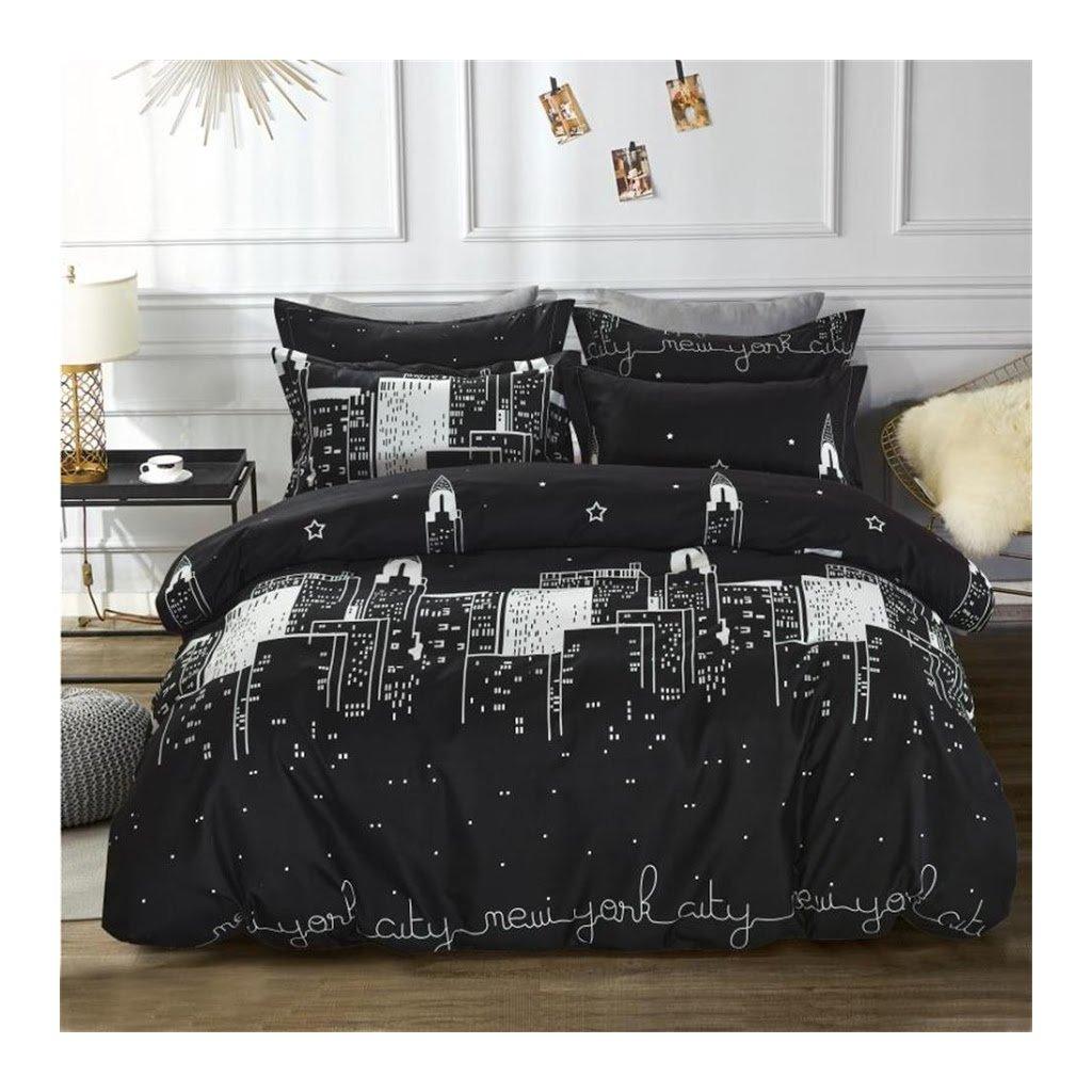 7-dílné povlečení New York City černá 140x200 na dvě postele
