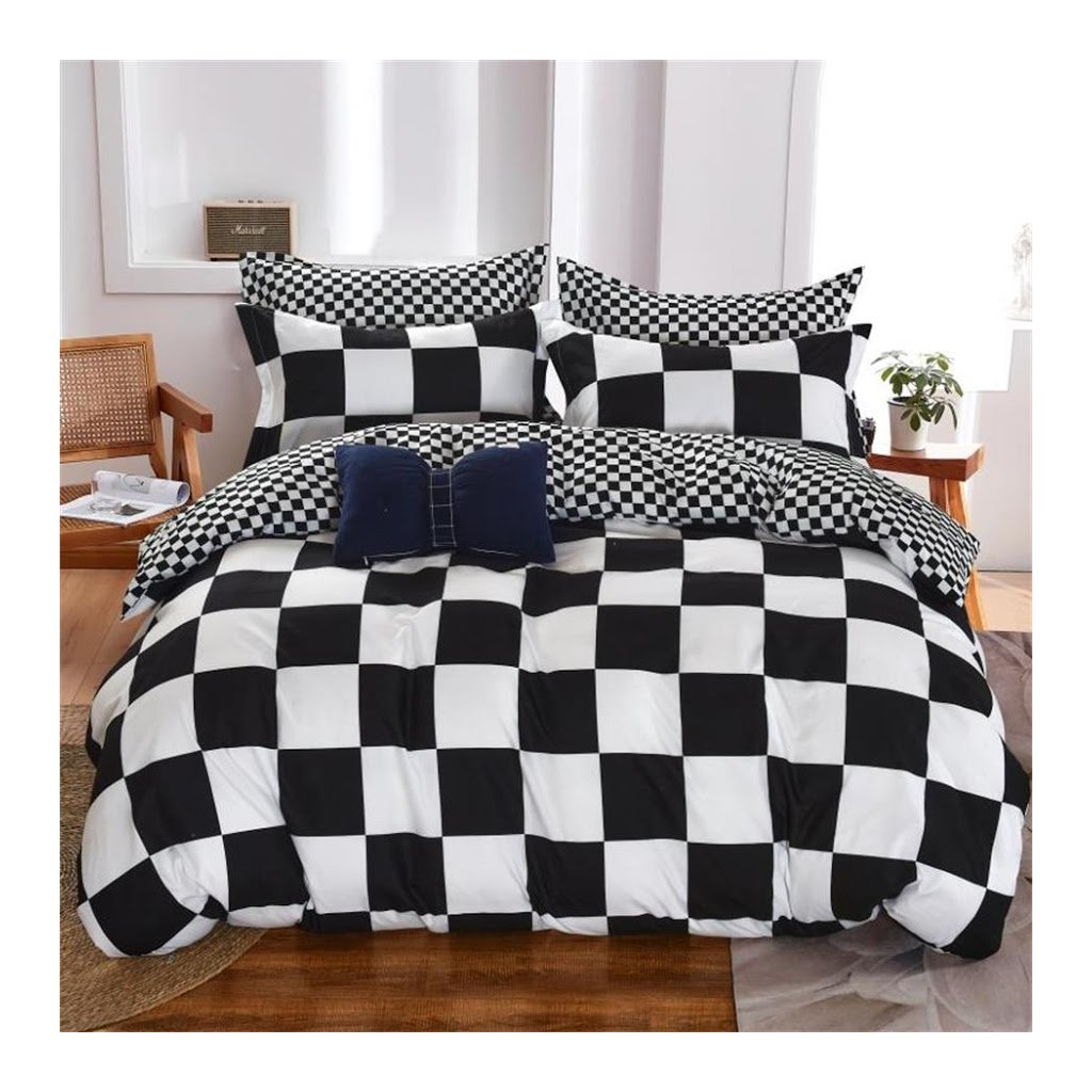 7-dílné povlečení šachovnice černá bílá 140x200 na dvě postele