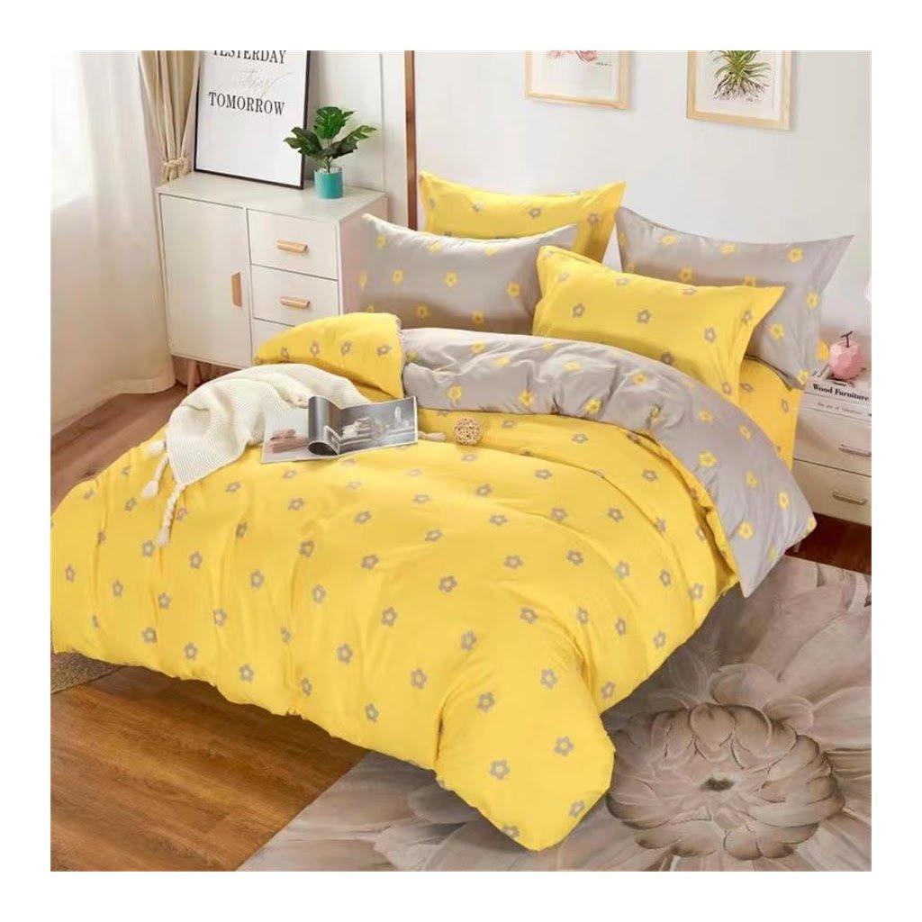 7-dílné povlečení květinový vzor žlutá 140x200 na dvě postele