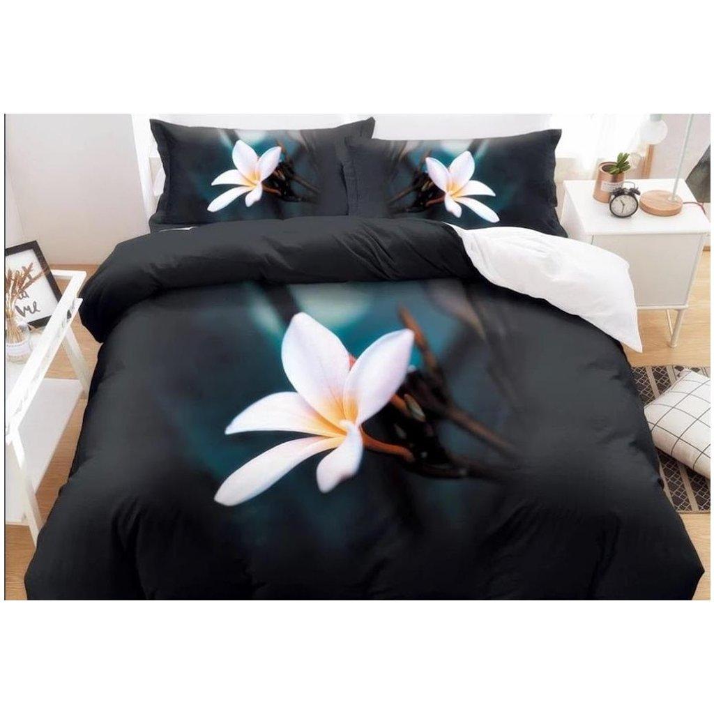 7-dílné povlečení bílý květ 3 D černá 140x200 na dvě postele