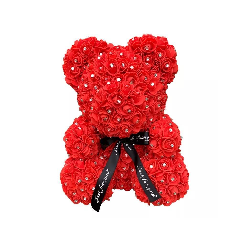 Dekorační medvídek z umělých růží
