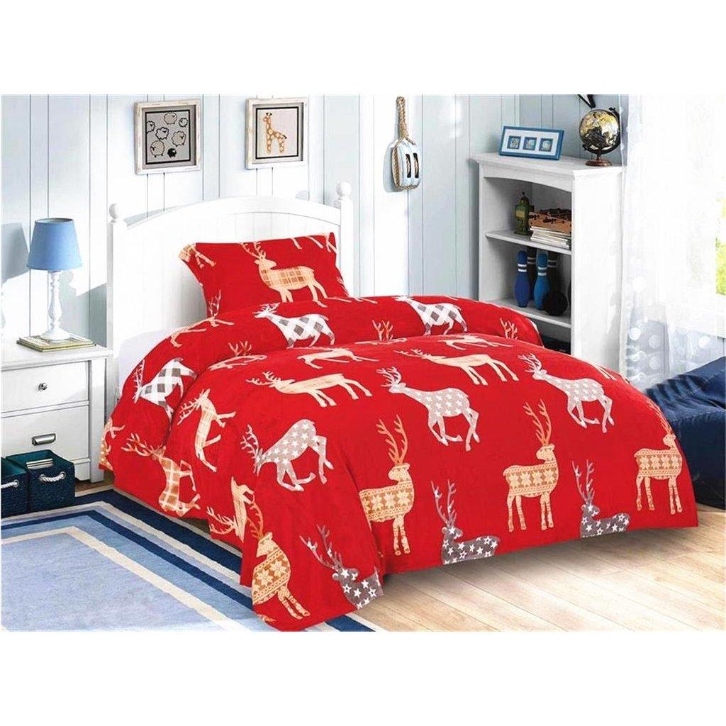 2-dílné povlečení jeleni mikroplyš červená 140x200 na jednu postel