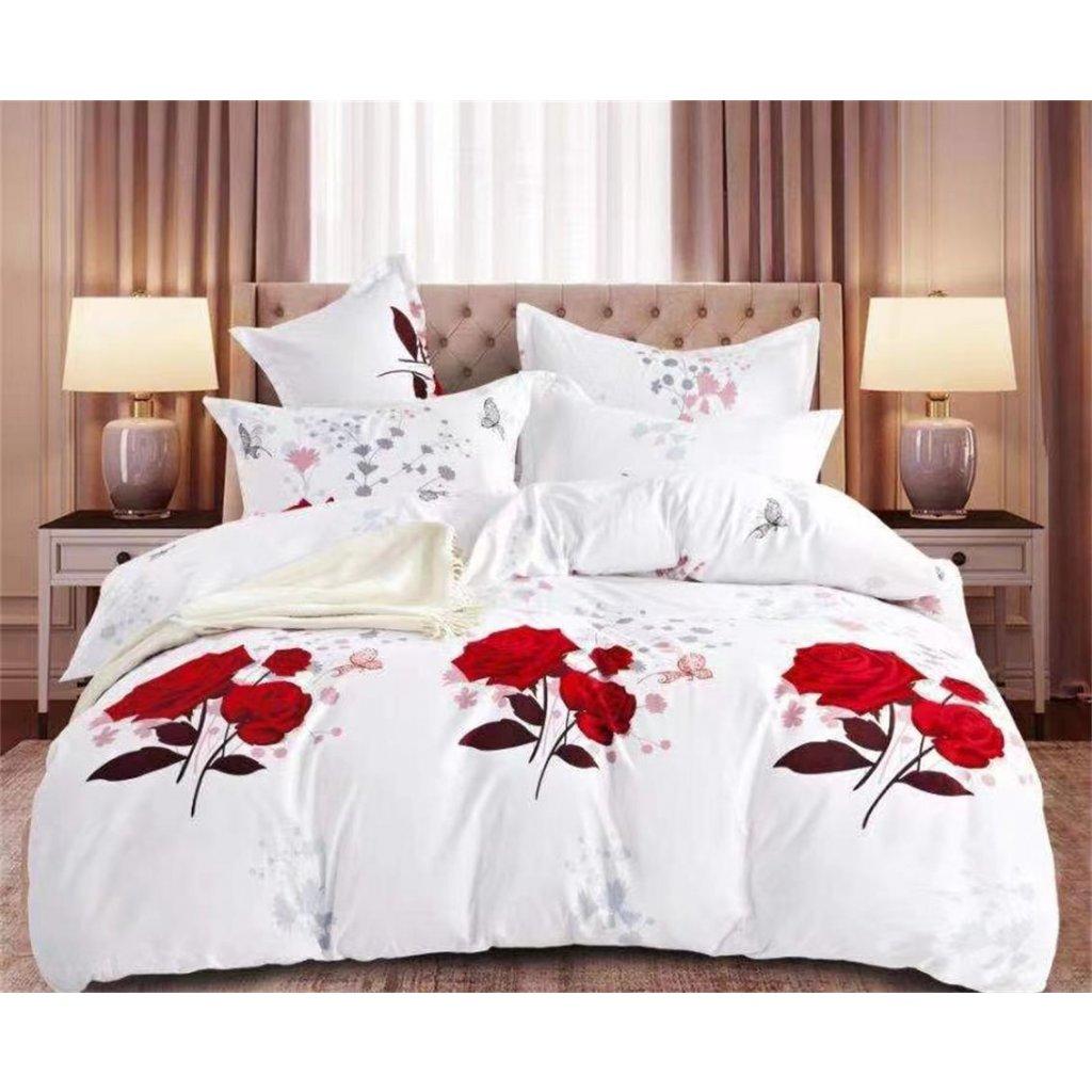 3-dílné povlečení růže bílá červená 140x200 na jednu postel