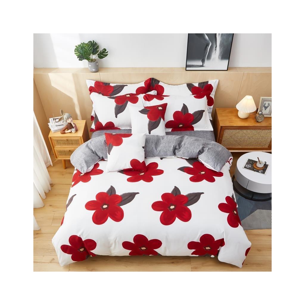 3-dílné flanelové povlečení květy růžová 140x200 na jednu postel
