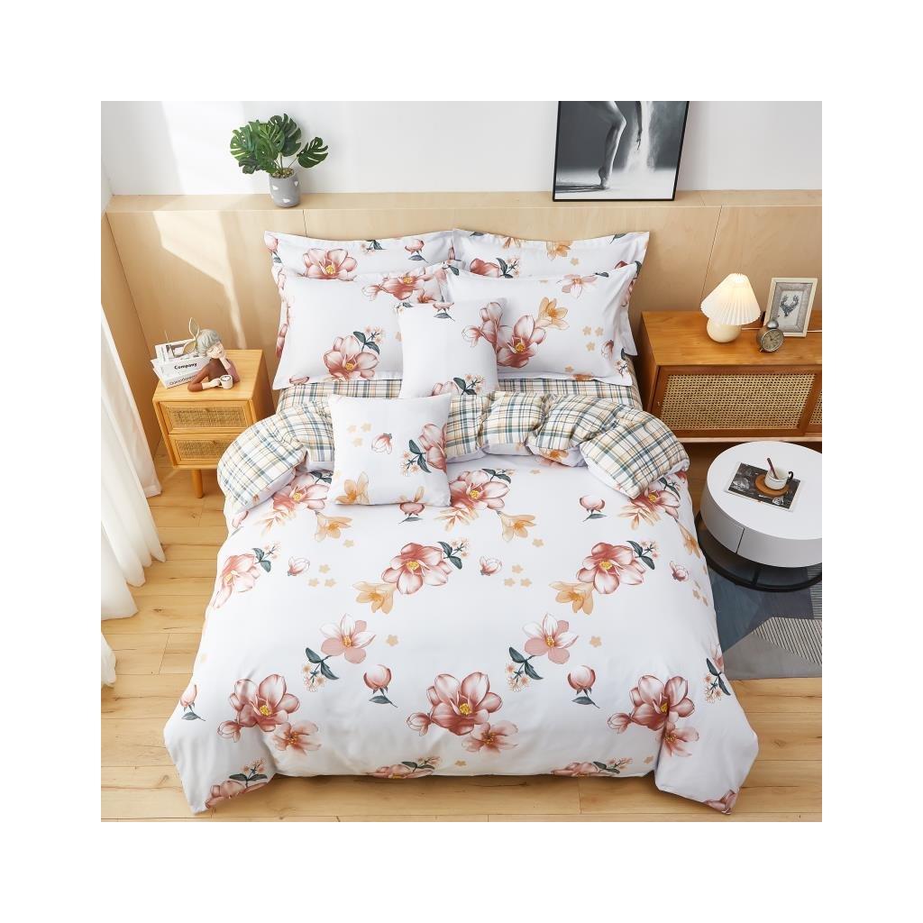 3-dílné flanelové povlečení listy a květy bílá růžová 140x200 na jednu postel