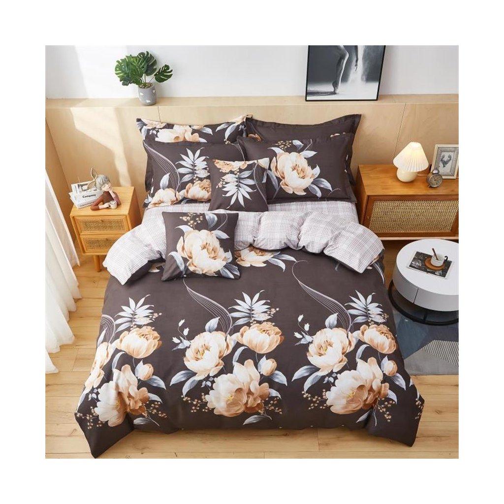 3-dílné flanelové povlečení květy šedá růžová 140x200 na jednu postel