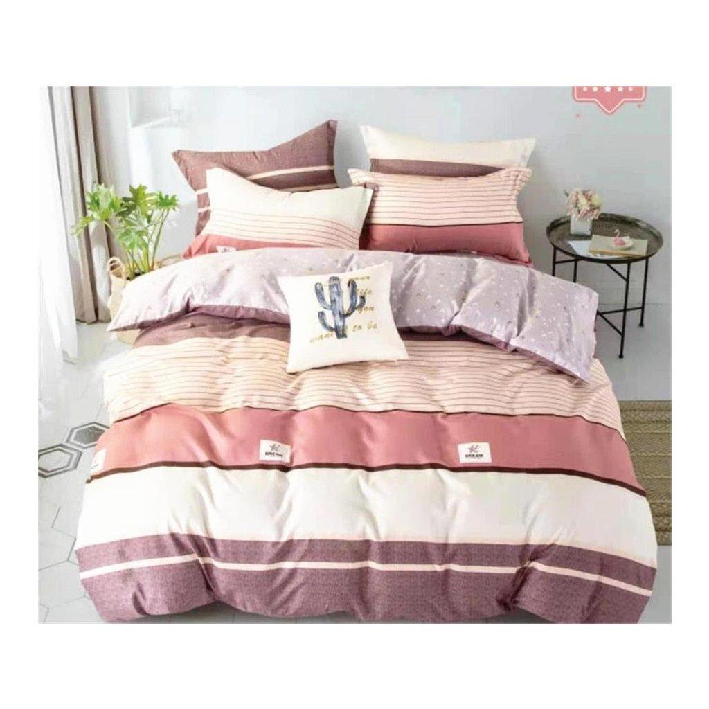 3-dílné flanelové povlečení dream pruhy fialová béžová 140x200 na jednu postel