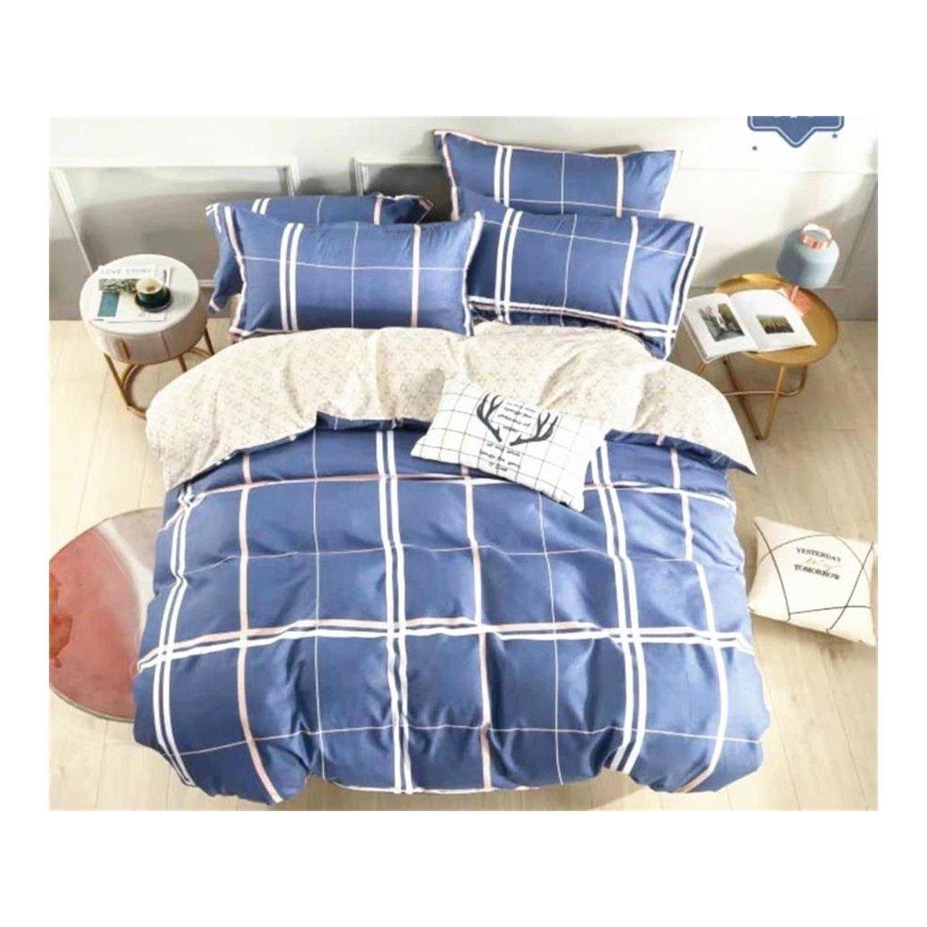 3-dílné flanelové povlečení kárované modrá 140x200 na jednu postel
