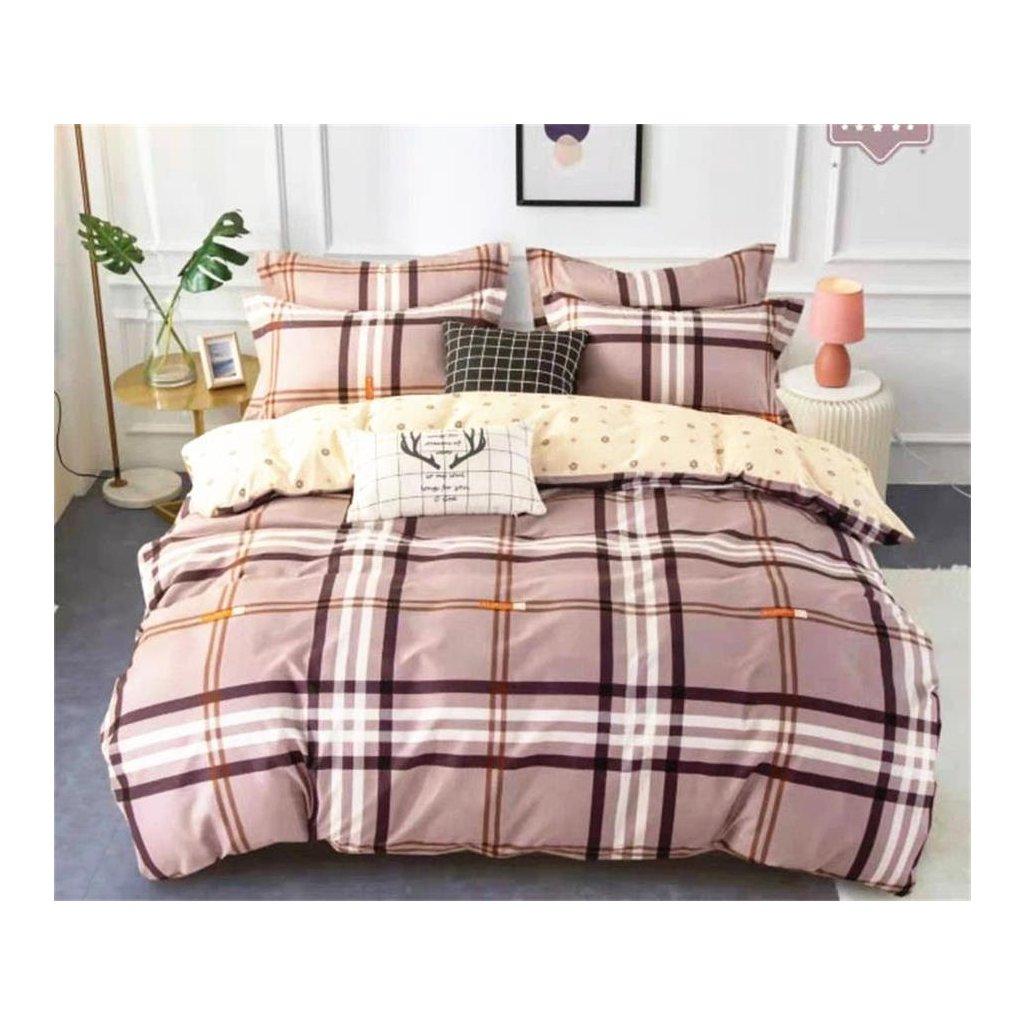 3-dílné flanelové povlečení happy kárované fialová 140x200 na jednu postel