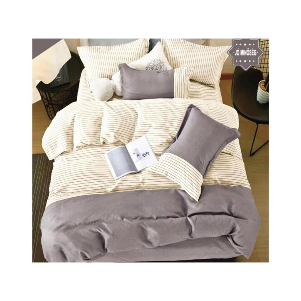 3-dílné flanelové povlečení pruhy krémová šedá 140x200 na jednu postel