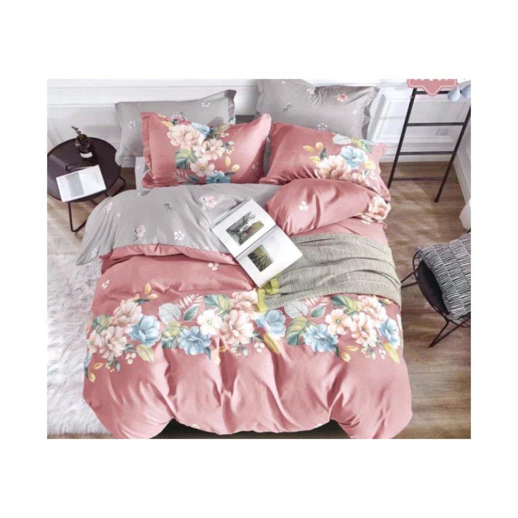 7-dílné flanelové povlečení květy růžová 140x200 na dvě postele