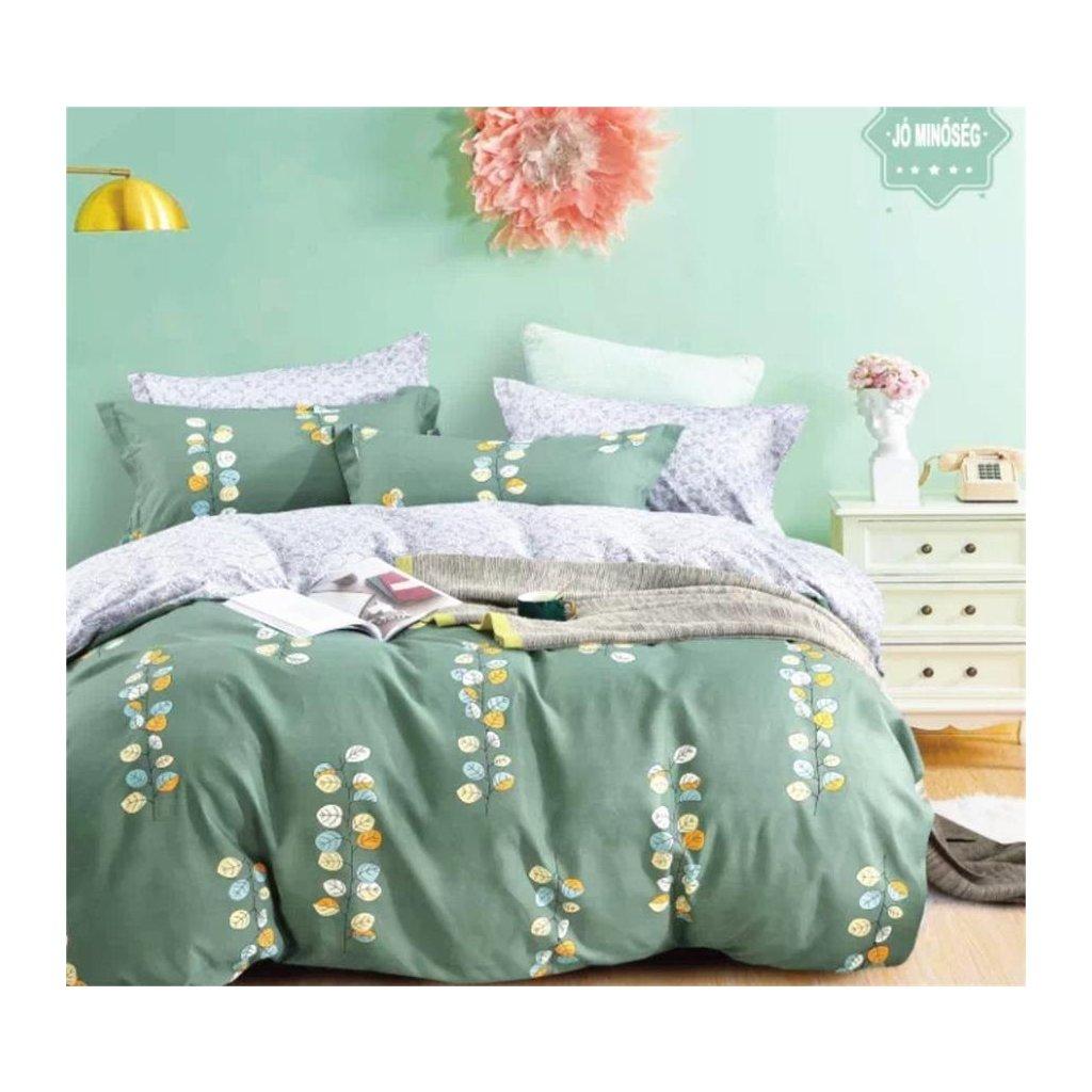 7-dílné flanelové povlečení lístečky zelená 140x200 na dvě postele